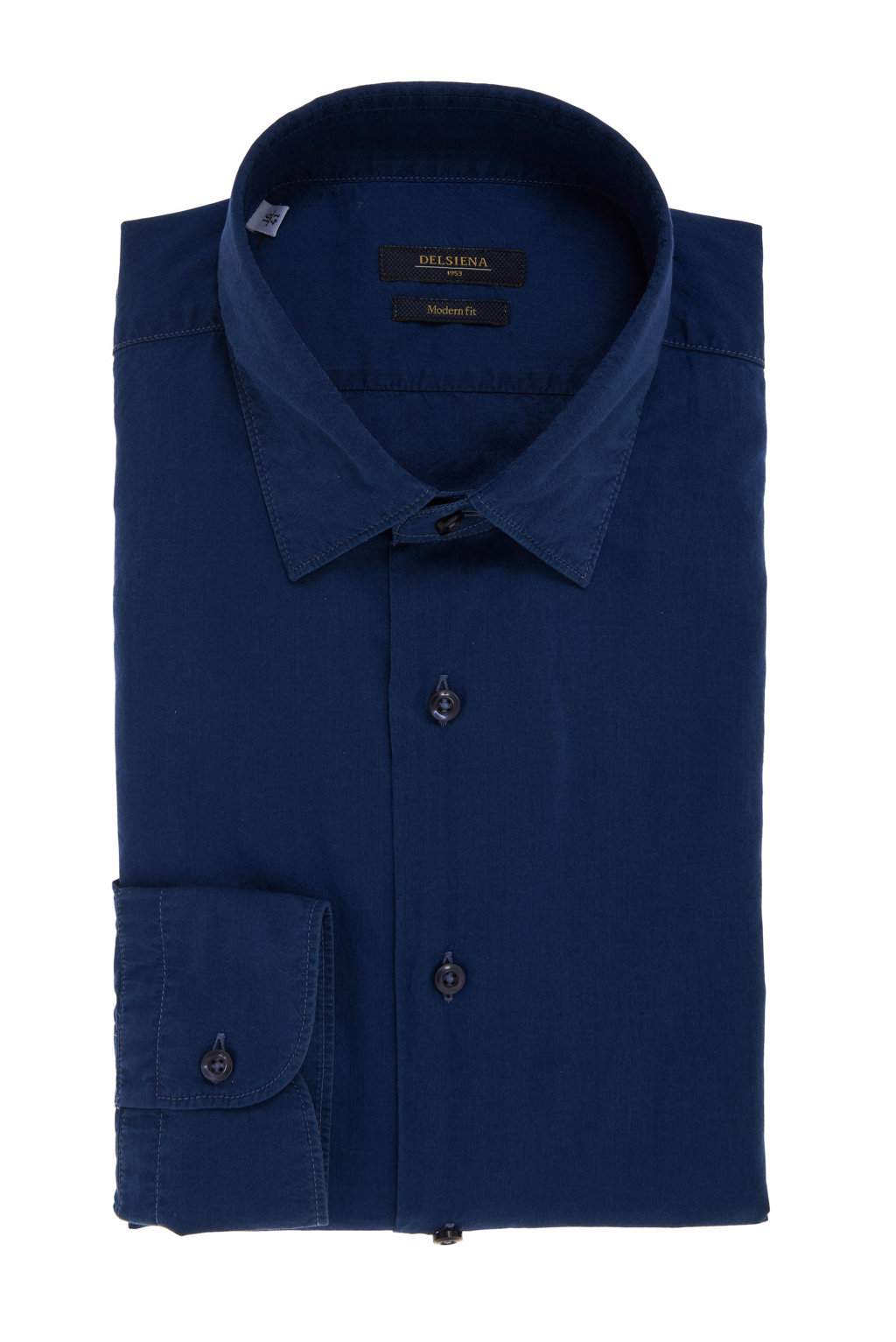 Camicia blu collo italiano Delsiena