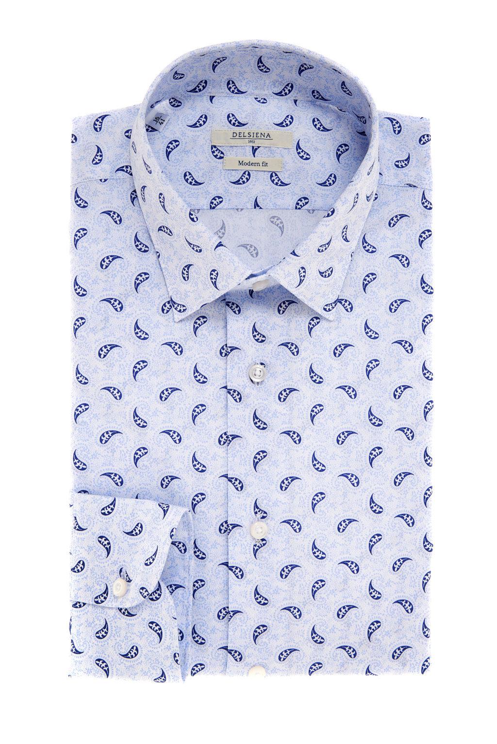 Camicia Delsiena con micro motivo azzurro e blu
