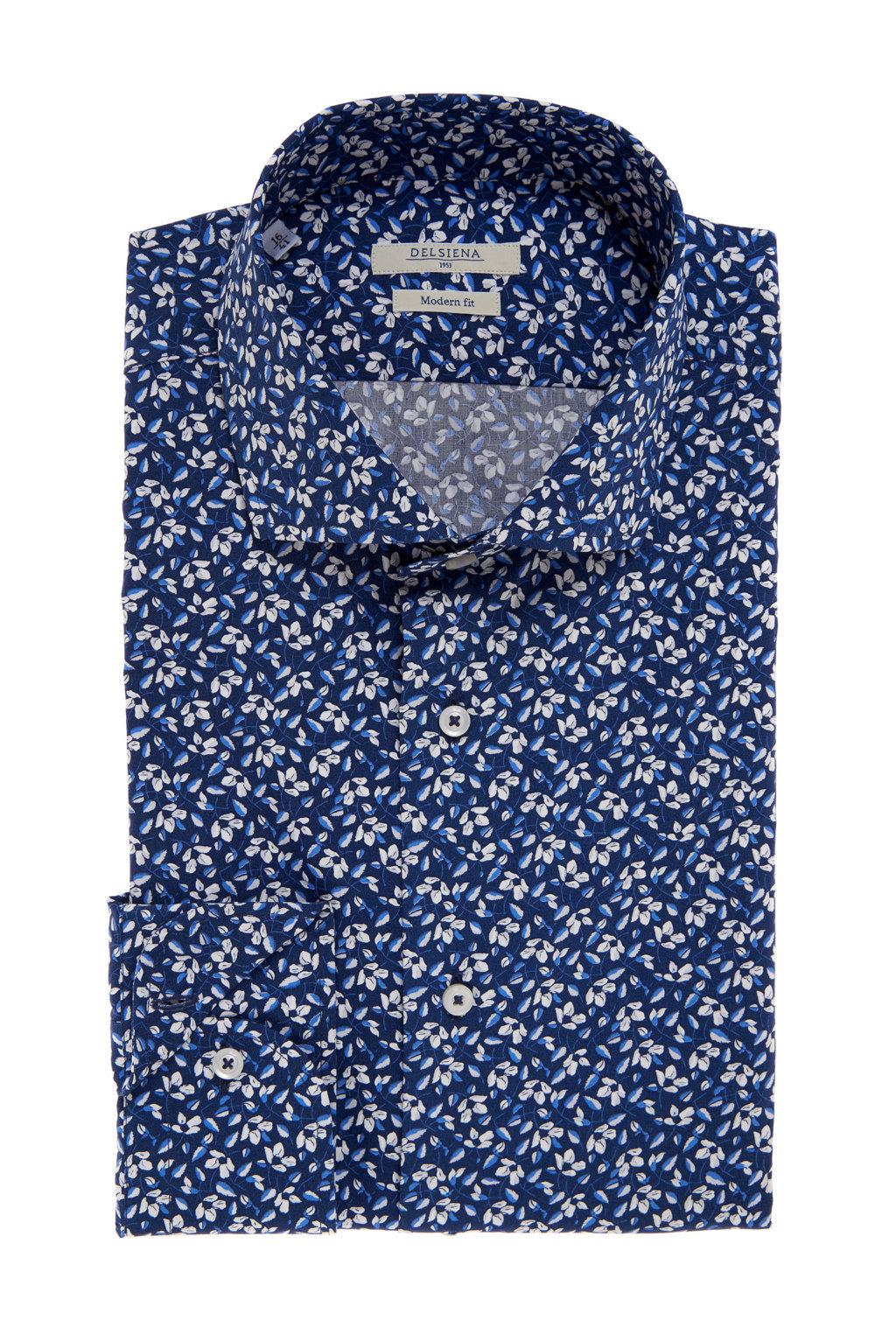 Camicia Delsiena floreale blu e bianca