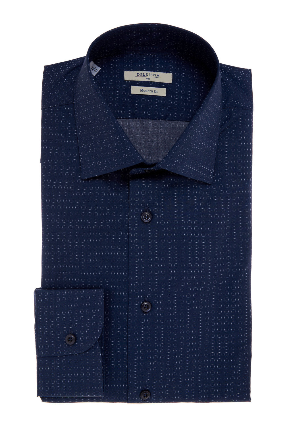 Camicia blu con micro fantasia Delsiena