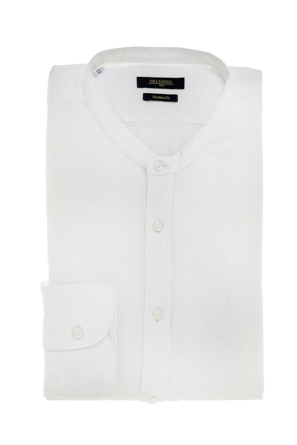 Camicia uomo bianca collo coreana Delsiena