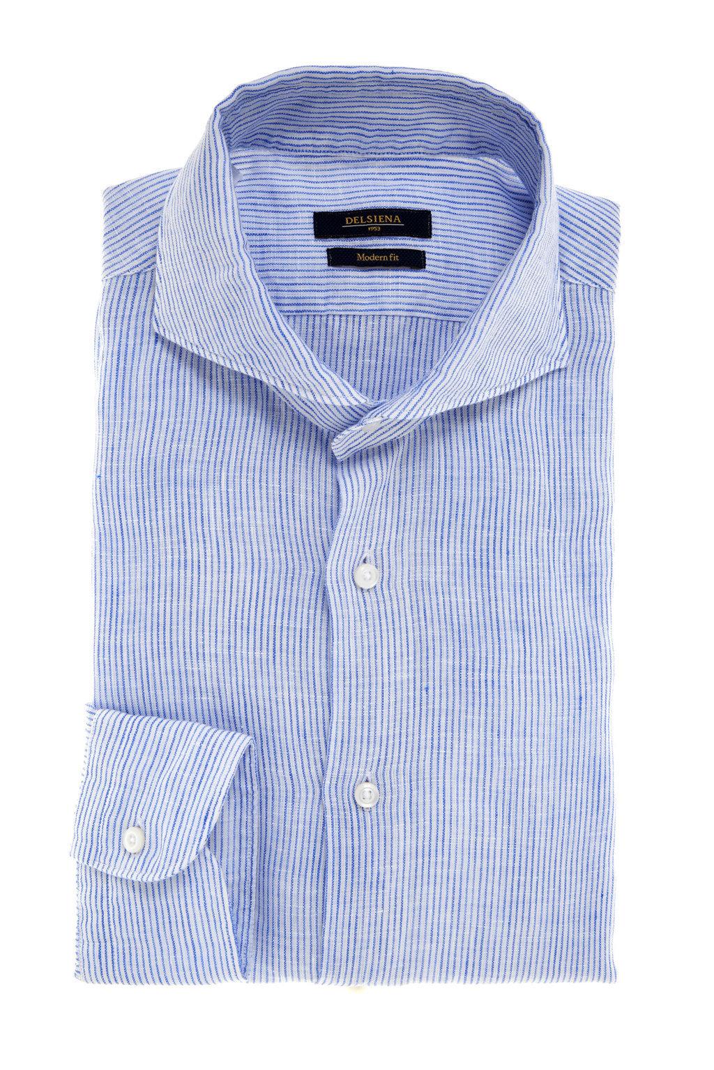 Camicia lino a righe azzurra Delsiena