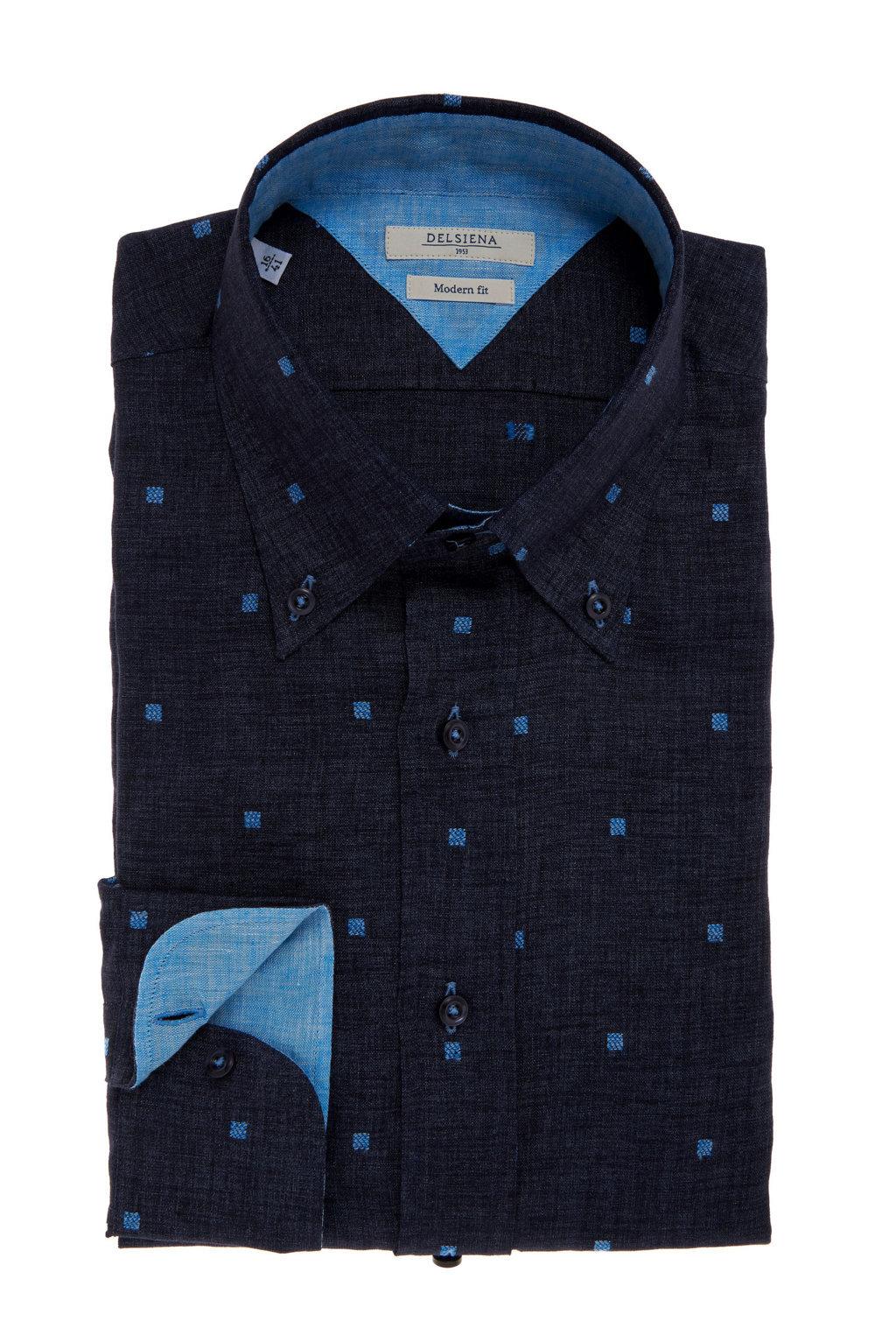 Camicia Delsiena lino blu button down